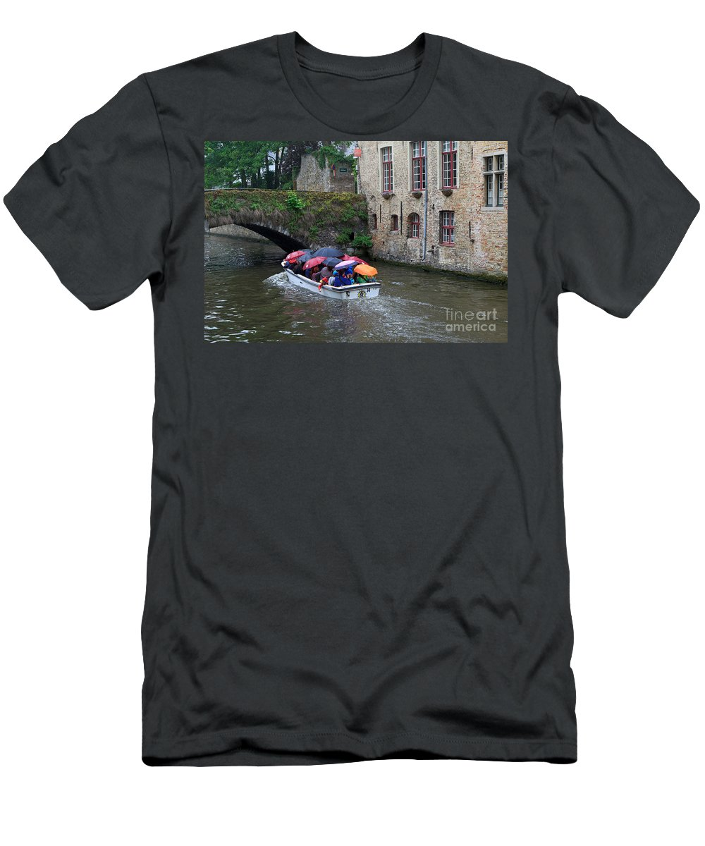 Tourists Men's T-Shirt (Athletic Fit) featuring the photograph Tourists With Umbrellas In A Sightseeing Boat On The Canal In Bruges by Louise Heusinkveld