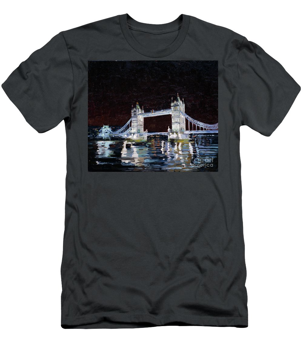 London Men's T-Shirt (Athletic Fit) featuring the painting Tower Bridge by Simon Kozhin