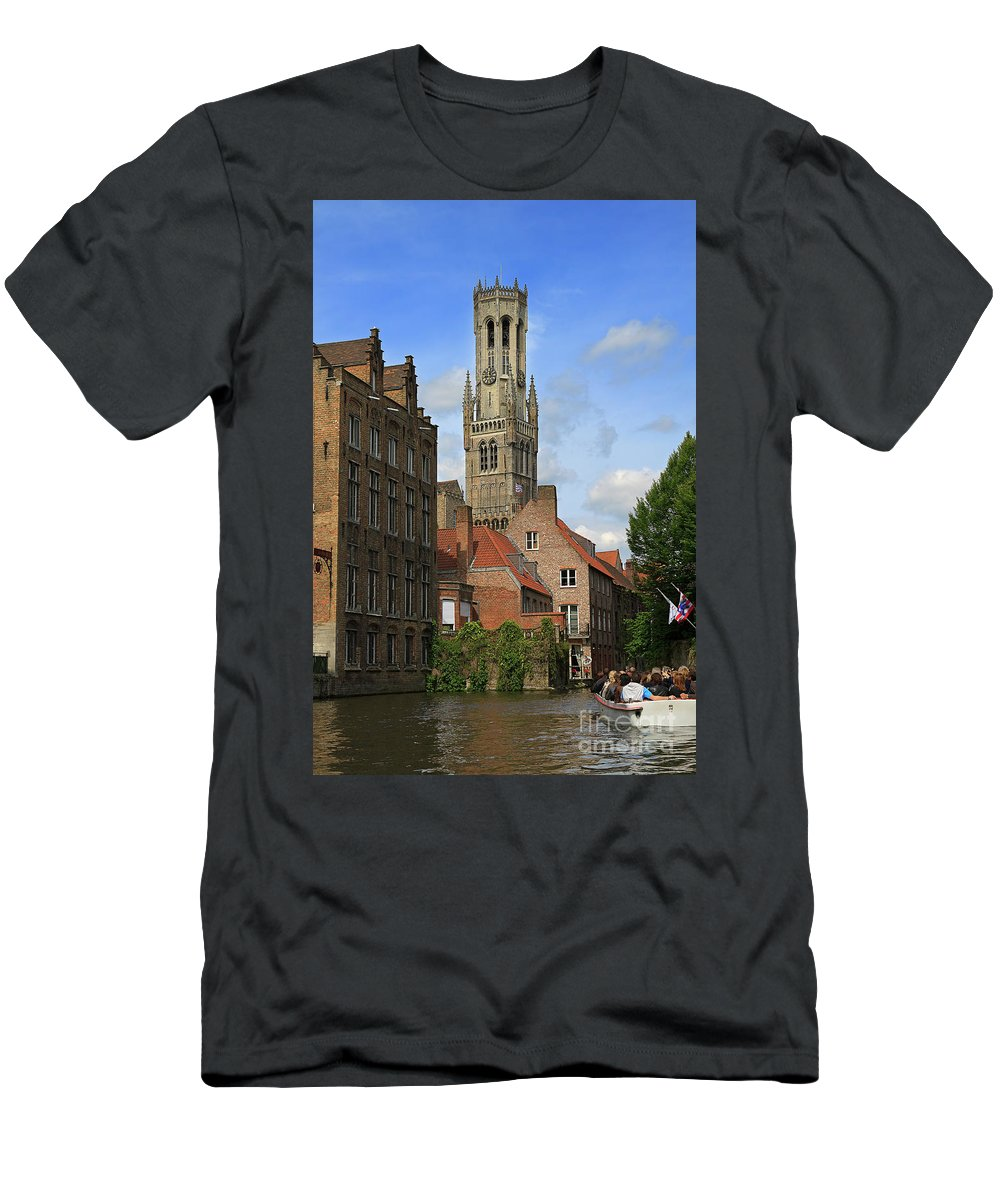 Bruges Men's T-Shirt (Athletic Fit) featuring the photograph Tower Of The Belfrey From The Canal At Rozenhoedkaai by Louise Heusinkveld