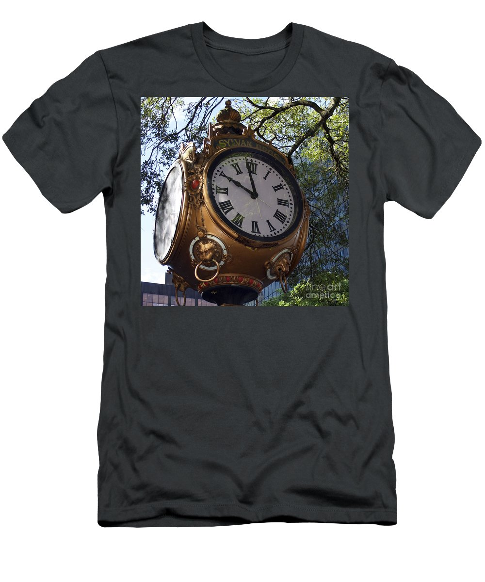 Scenic Tours Men's T-Shirt (Athletic Fit) featuring the photograph Town Clock by Skip Willits
