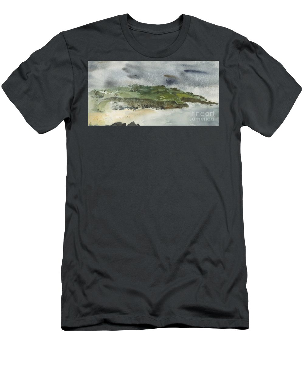 White Cliffs Of Dover Men's T-Shirt (Athletic Fit) featuring the painting Town On Hill by Ellen Palmer Legacy Art
