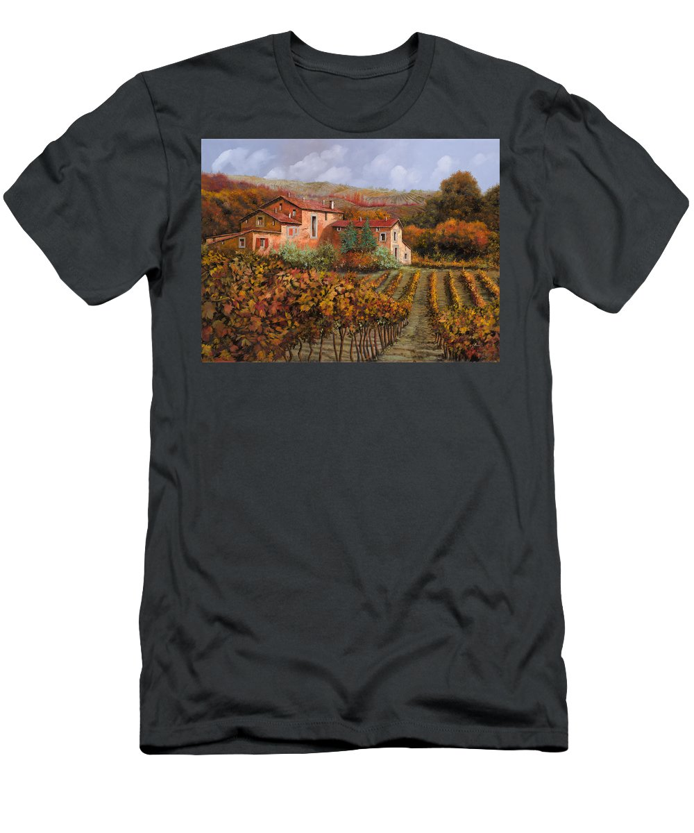 Wine Men's T-Shirt (Athletic Fit) featuring the painting tra le vigne a Montalcino by Guido Borelli