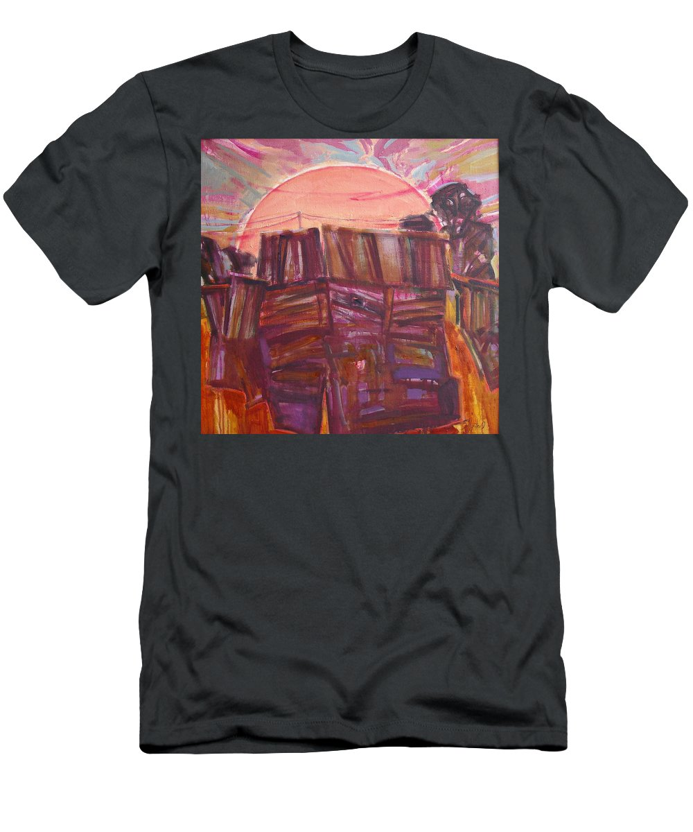 Oil Men's T-Shirt (Athletic Fit) featuring the painting Tracks by Sergey Ignatenko