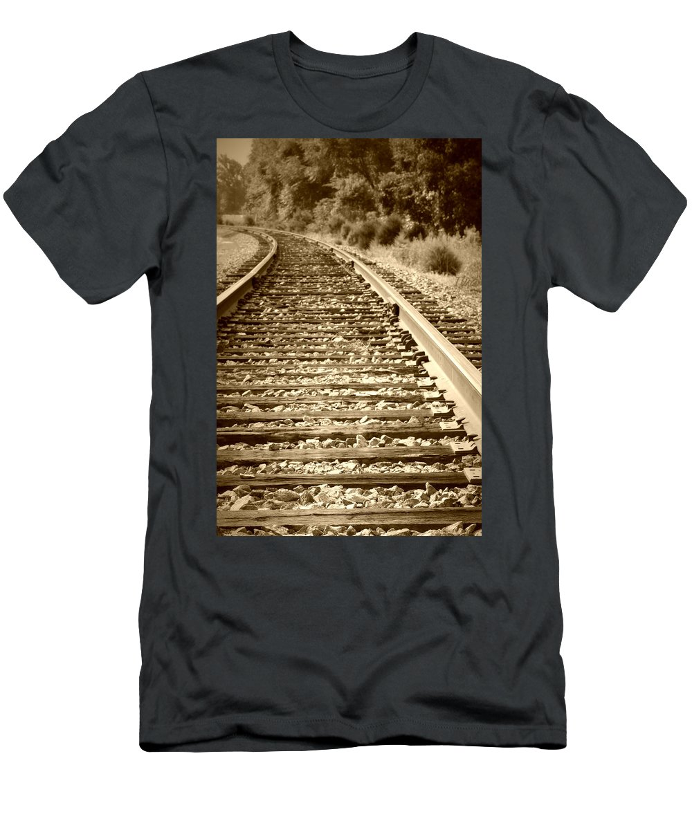 Tracks Men's T-Shirt (Athletic Fit) featuring the photograph Tracks by Tina Meador