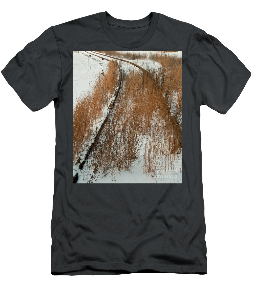 Train Men's T-Shirt (Athletic Fit) featuring the photograph Tracks To The Past by Scott Hafer