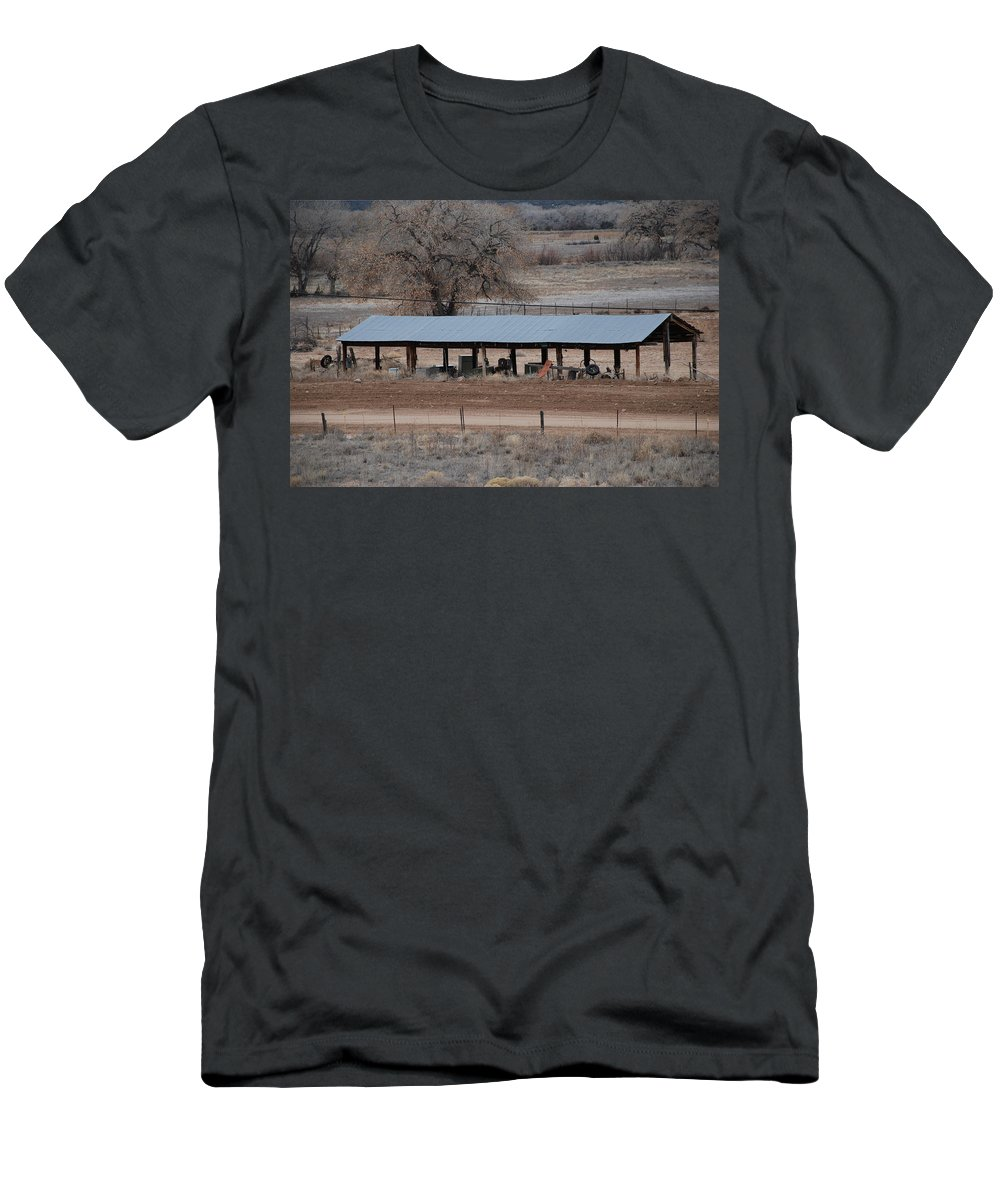 Architecture Men's T-Shirt (Athletic Fit) featuring the photograph Tractor Port On The Ranch by Rob Hans
