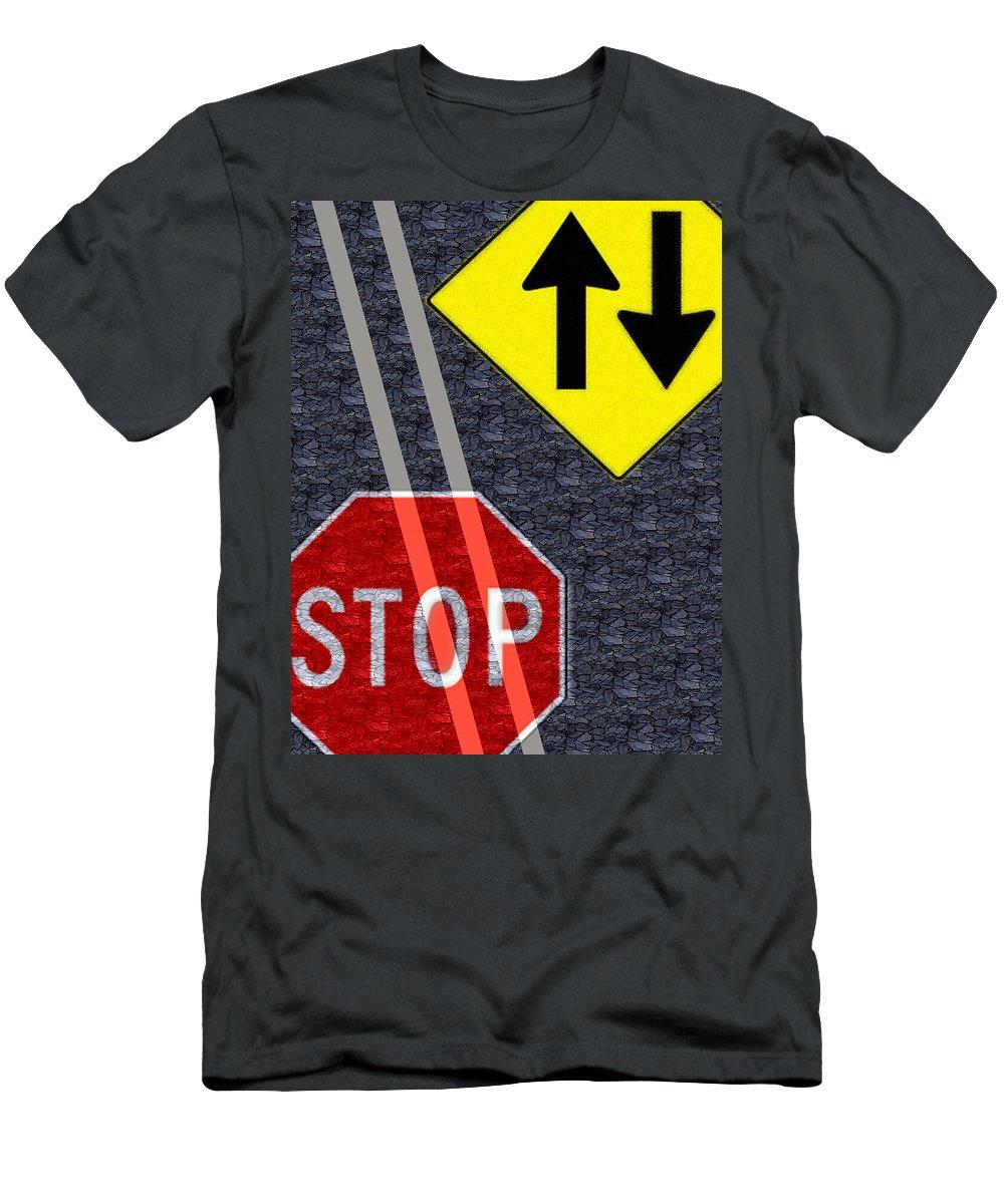 Traffic Signs Men's T-Shirt (Athletic Fit) featuring the digital art Traffic Signs by Hannah Breidenbach