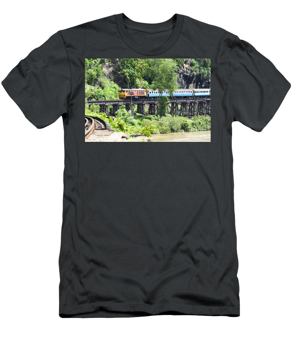Architectural Art Men's T-Shirt (Athletic Fit) featuring the photograph Train by Bill Brennan - Printscapes