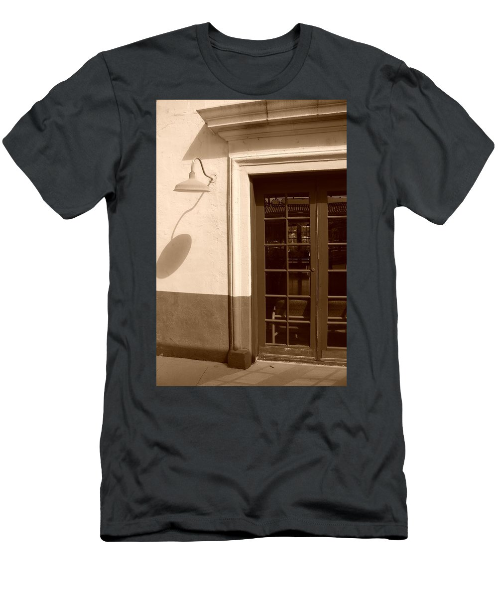 Sepia Men's T-Shirt (Athletic Fit) featuring the photograph Train Station Of The 40s by Rob Hans