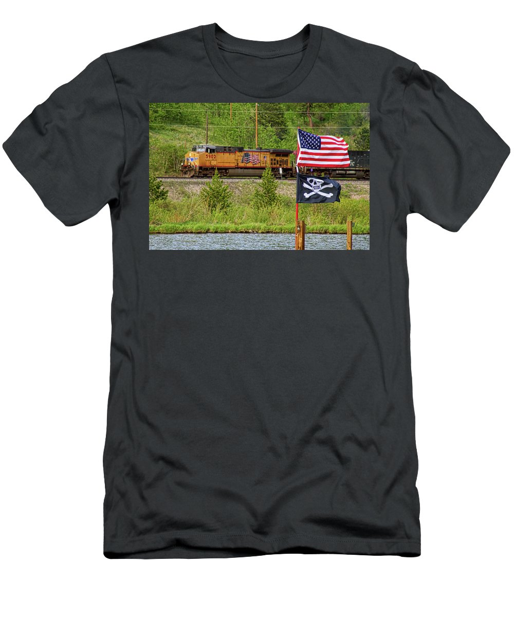 Trains Men's T-Shirt (Athletic Fit) featuring the photograph Train The Flags by James BO Insogna