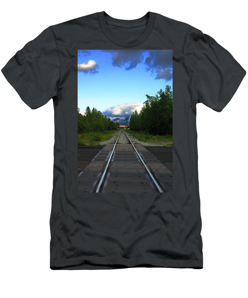 Train Men's T-Shirt (Athletic Fit) featuring the photograph Train Tracks Anchorage Alaska by Anthony Jones