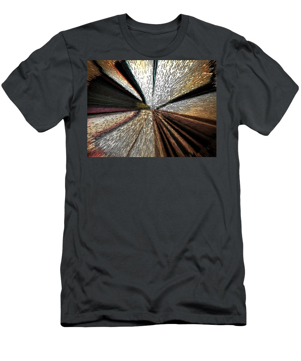 Abstract Men's T-Shirt (Athletic Fit) featuring the digital art Train Tracks by Lenore Senior