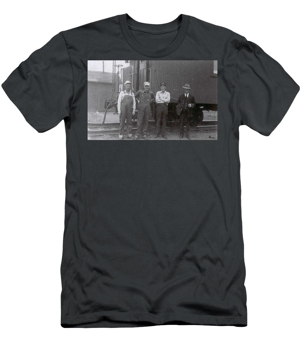 Old Photo Black And White Classic Saskatchewan Pioneers History Train Railway Workers Men's T-Shirt (Athletic Fit) featuring the photograph Trainsmen by Andrea Lawrence