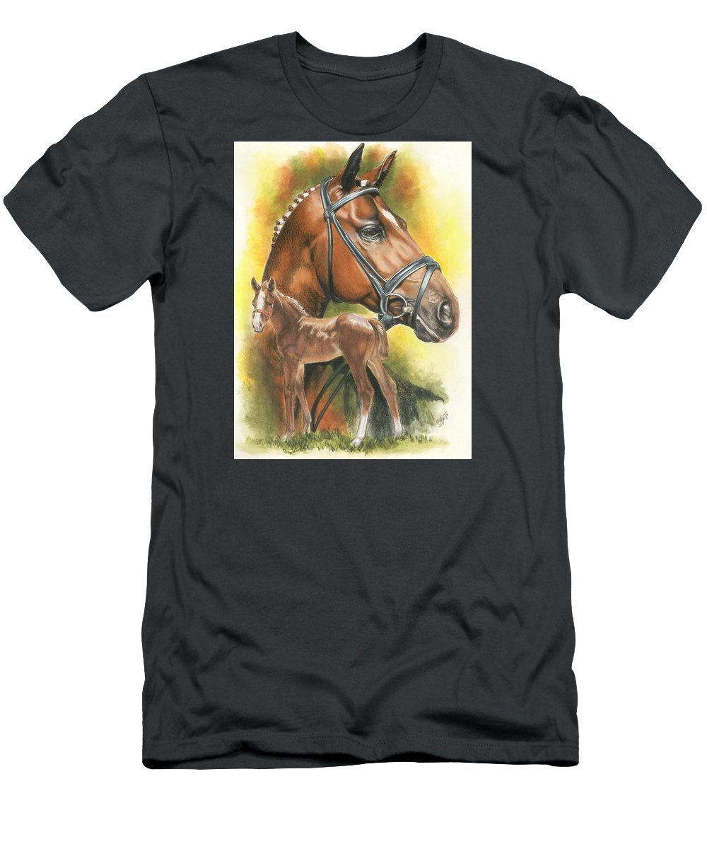 Jumper Hunter T-Shirt featuring the mixed media Trakehner by Barbara Keith