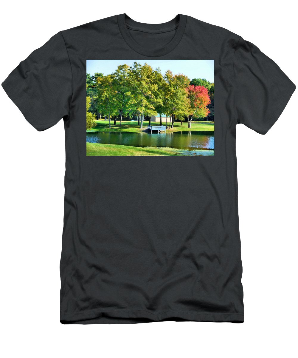 Tranquil Landscape At A Lake Men's T-Shirt (Athletic Fit) featuring the painting Tranquil Landscape At A Lake 8 by Jeelan Clark