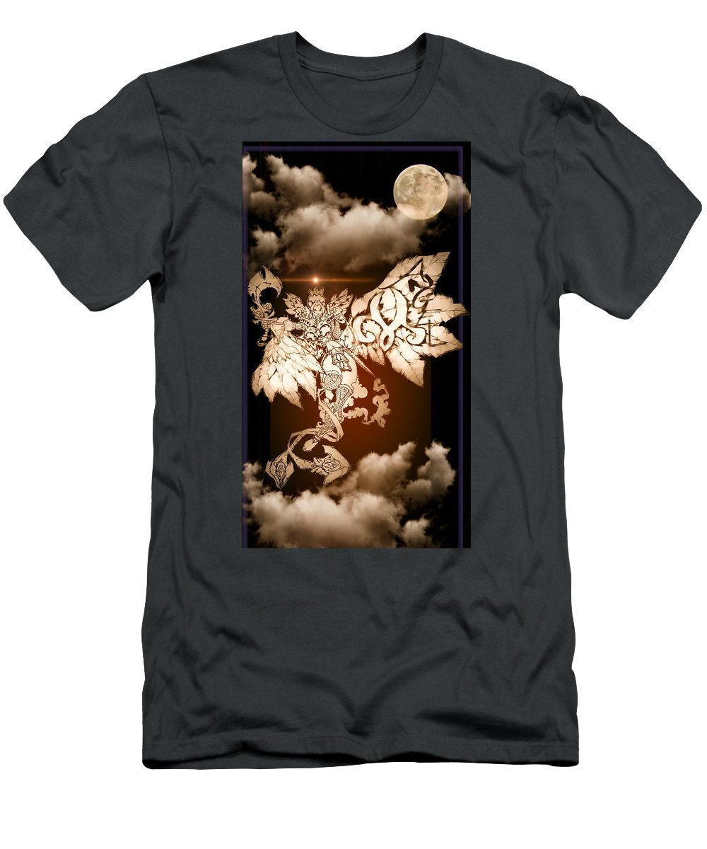 Fantasy Landscape T-Shirt featuring the drawing Transcending Angel by Louis Williams