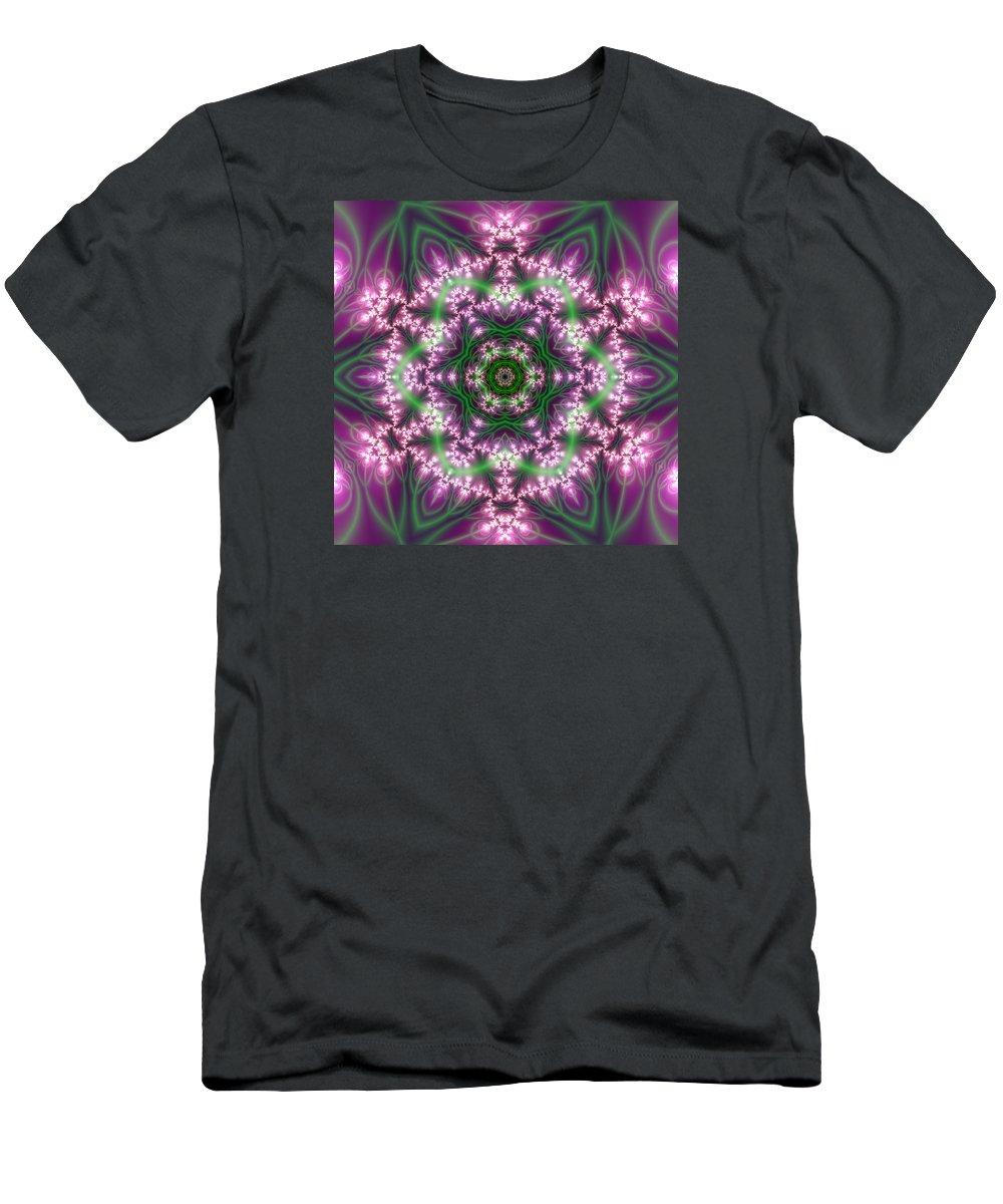 Mandala Men's T-Shirt (Athletic Fit) featuring the digital art Transition Flower 6 Beats 4 by Robert Thalmeier