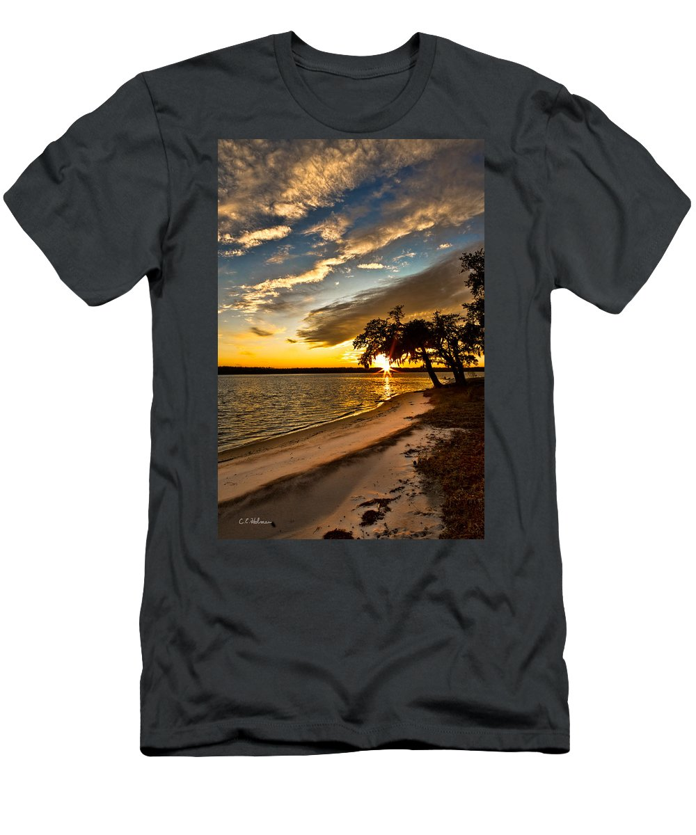 Sunset Men's T-Shirt (Athletic Fit) featuring the photograph Trapped Sunset by Christopher Holmes