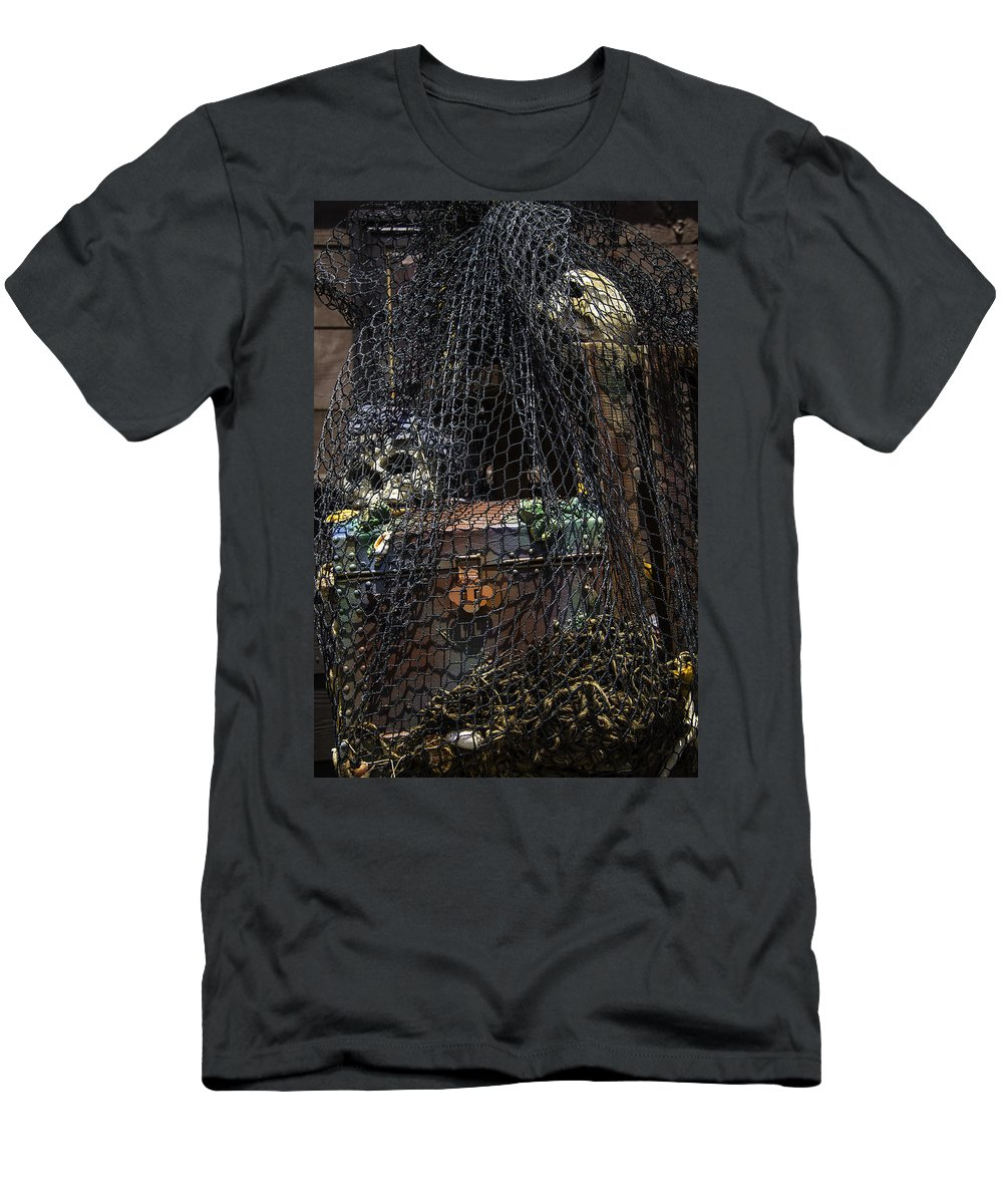 Treasure Men's T-Shirt (Athletic Fit) featuring the photograph Treasure Chest In Net by Garry Gay