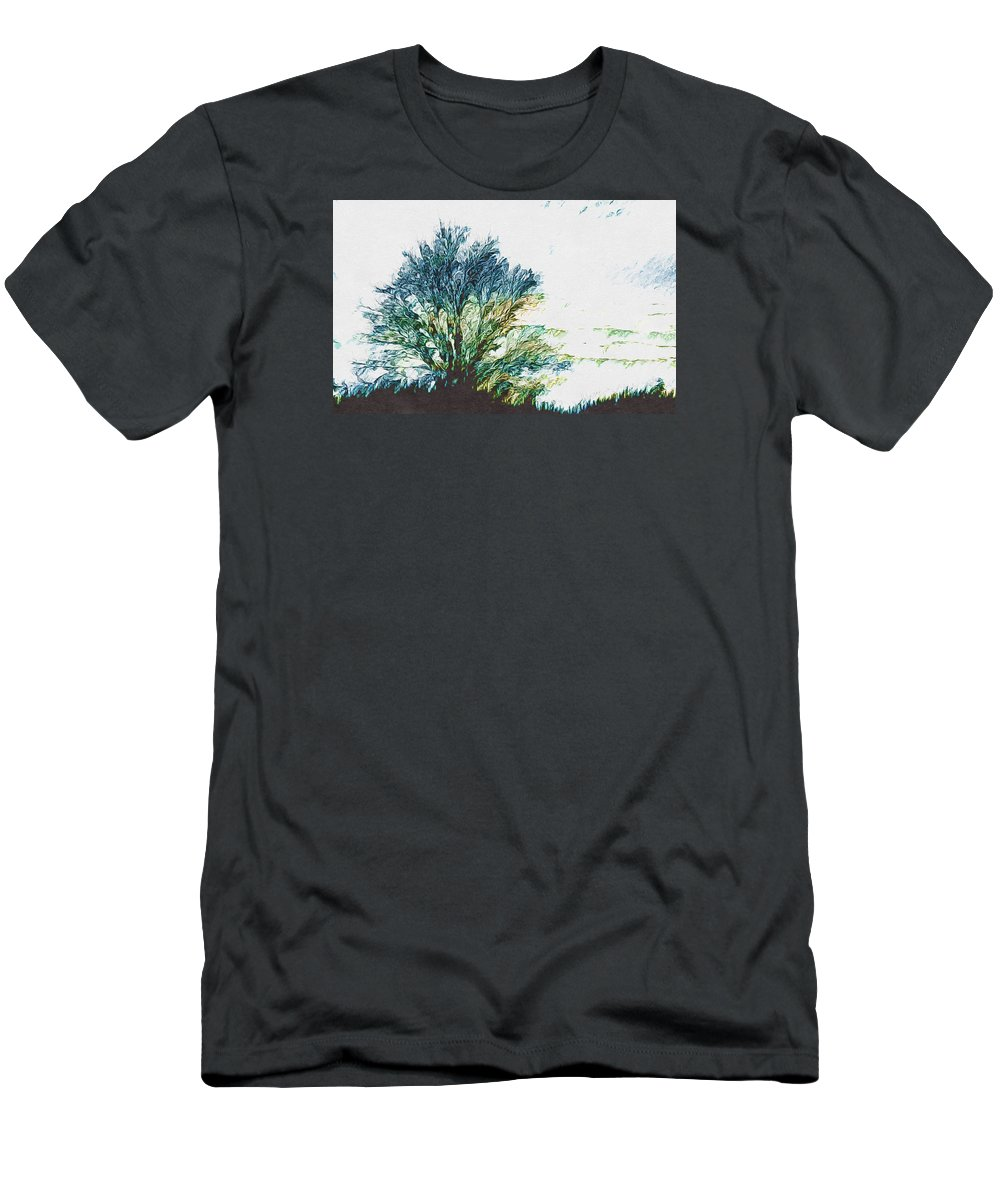 Abstract Men's T-Shirt (Athletic Fit) featuring the photograph Tree Along The Way 2 by Ronda Broatch