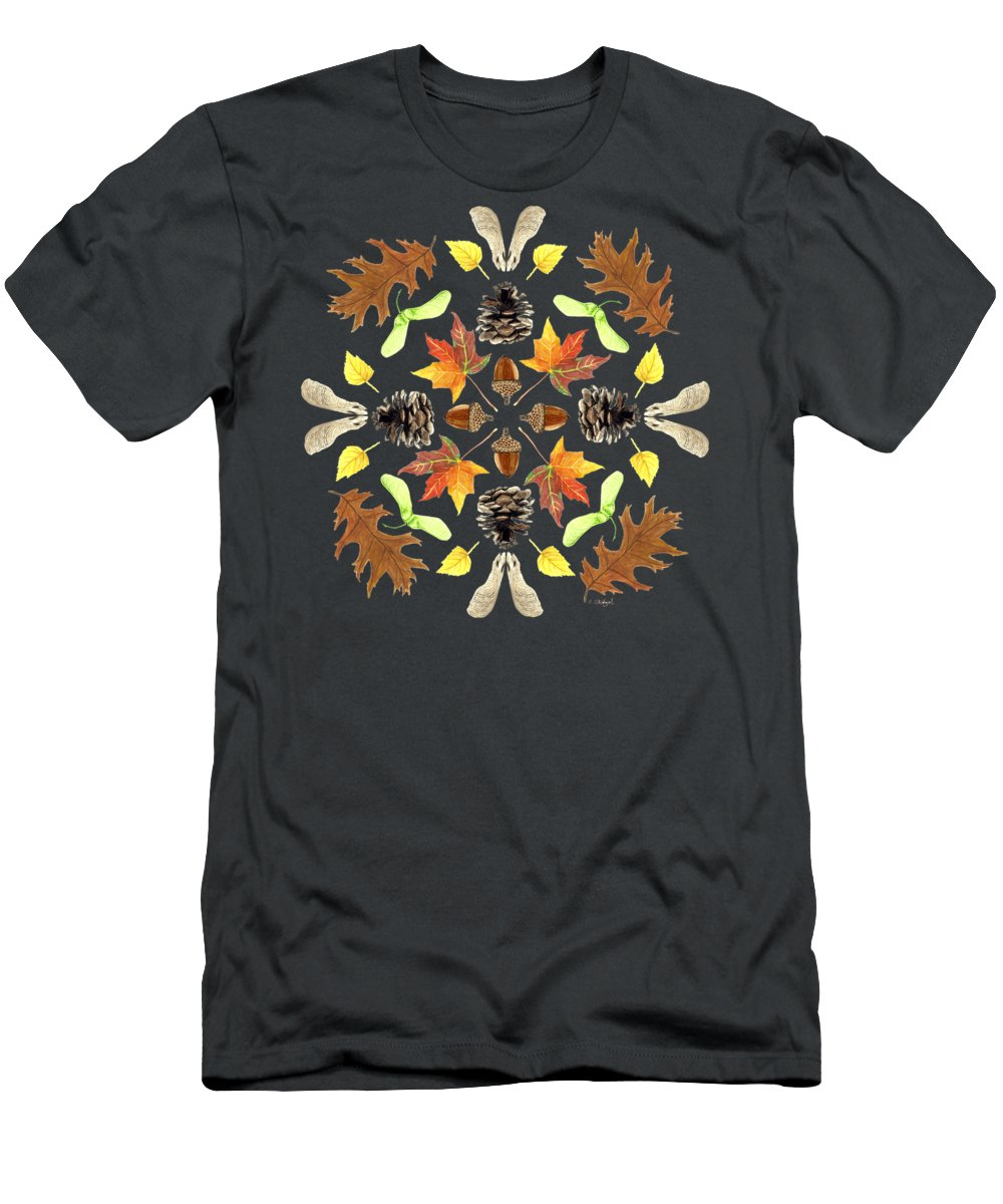 Tree Men's T-Shirt (Athletic Fit) featuring the painting Tree Mandala 1 - Watercolor by Cindy Skidgel
