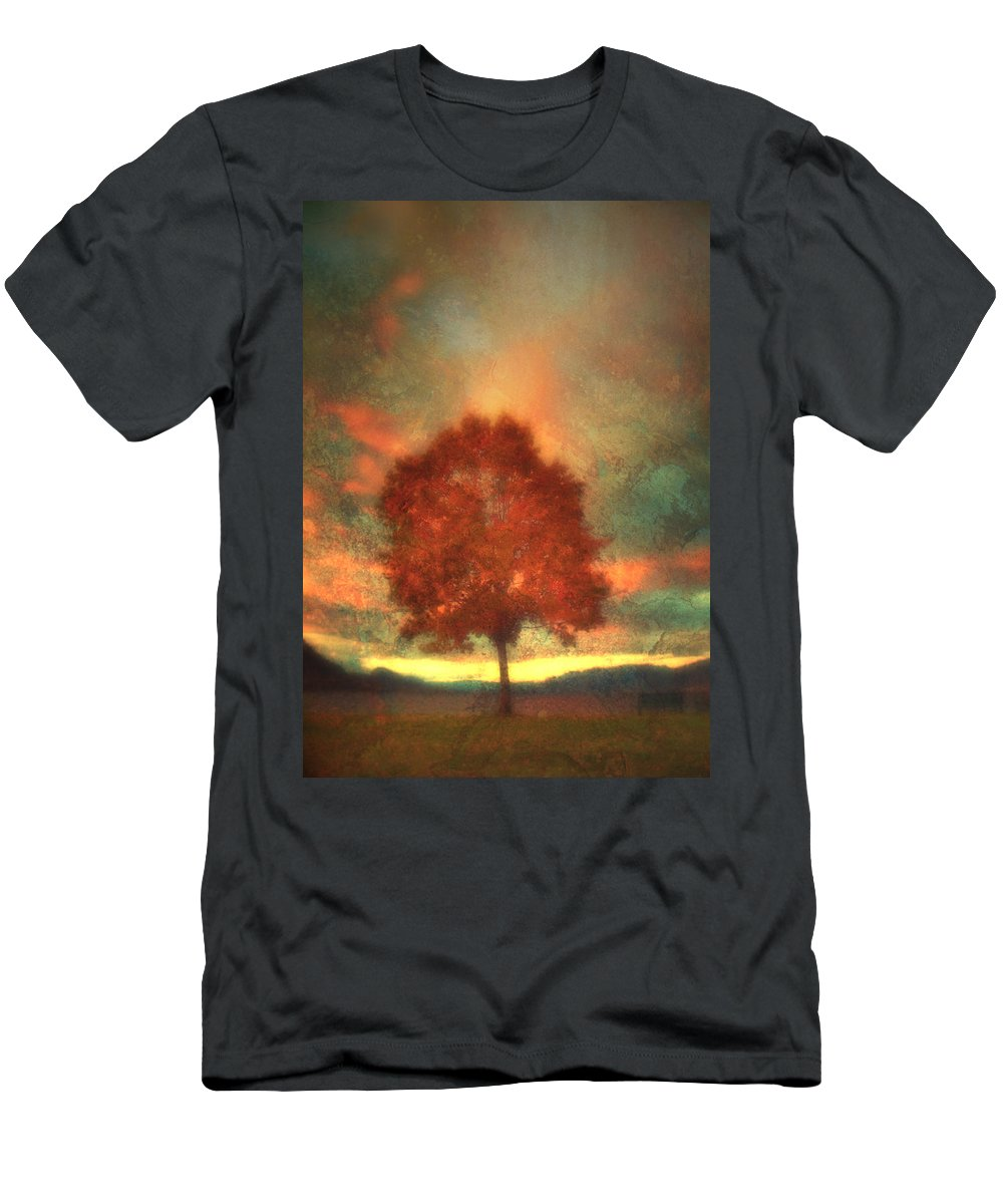 Tree Men's T-Shirt (Athletic Fit) featuring the photograph Tree On Fire by Tara Turner