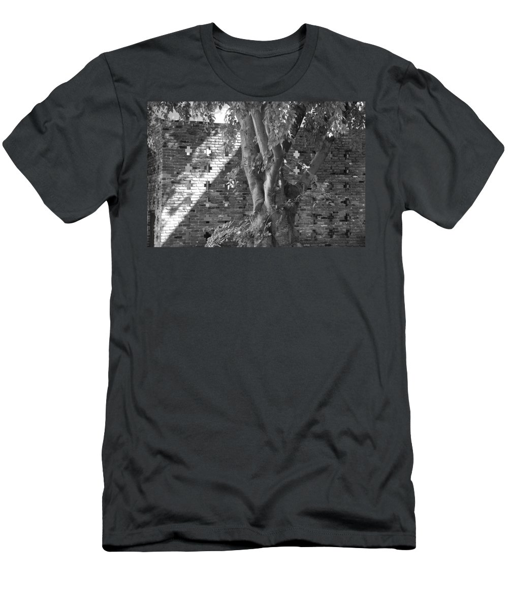 Trees Men's T-Shirt (Athletic Fit) featuring the photograph Trees And Brick Crosses by Rob Hans