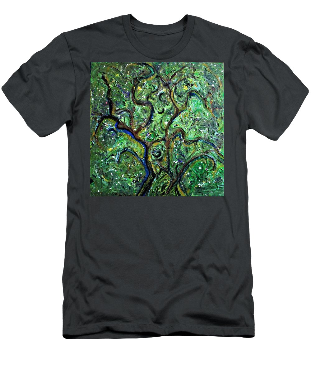 Green T-Shirt featuring the painting Trees by Pam Roth O'Mara