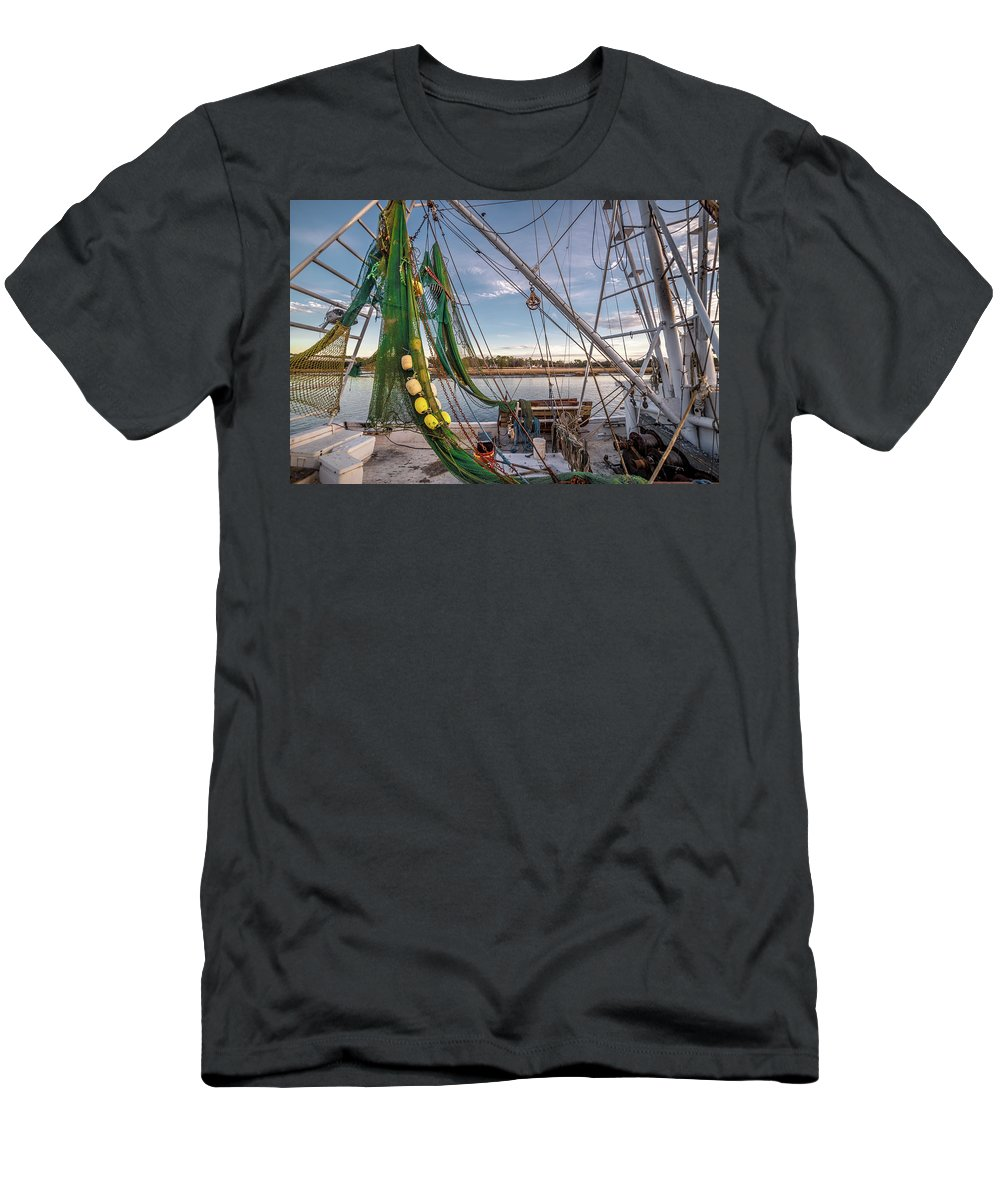 Boats Men's T-Shirt (Athletic Fit) featuring the photograph Triangles In The Harbor by Gerald Monaco