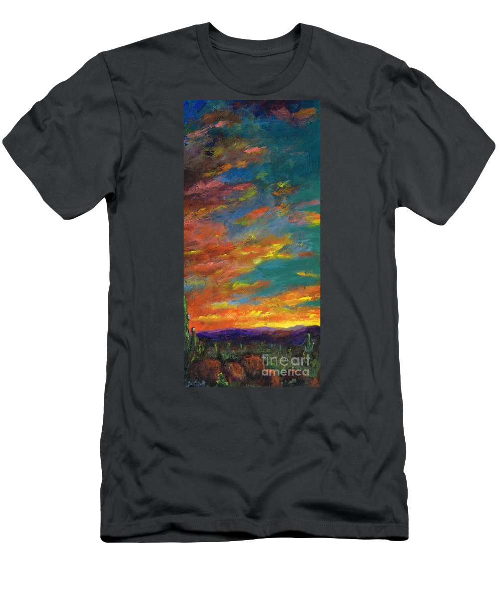 Desert Men's T-Shirt (Athletic Fit) featuring the painting Triptych 1 Desert Sunset by Frances Marino
