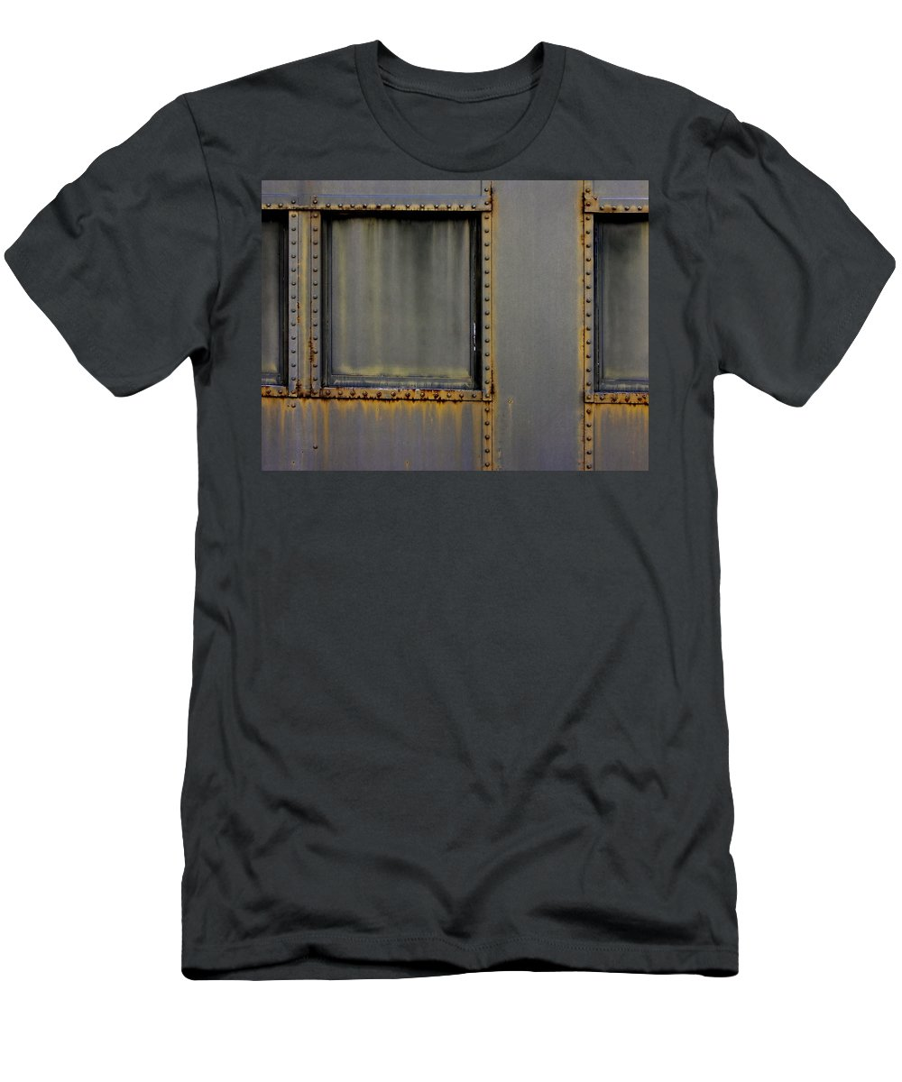 Railroad Men's T-Shirt (Athletic Fit) featuring the photograph Troop Railcar by John Hansen