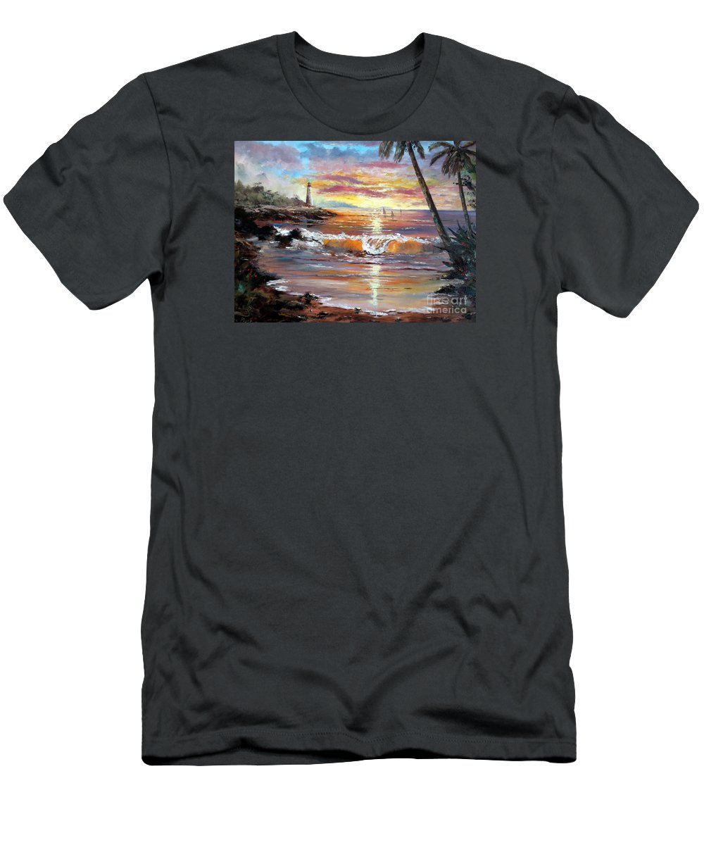 Sunset Men's T-Shirt (Athletic Fit) featuring the painting Tropical Sunset by Lee Piper