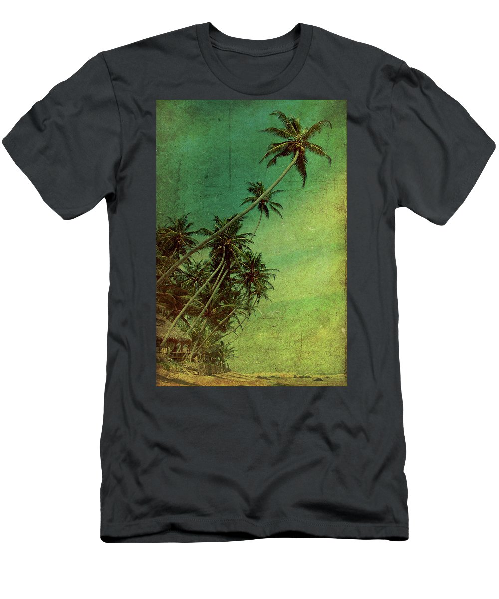 Palm Men's T-Shirt (Athletic Fit) featuring the photograph Tropical Vestige by Andrew Paranavitana