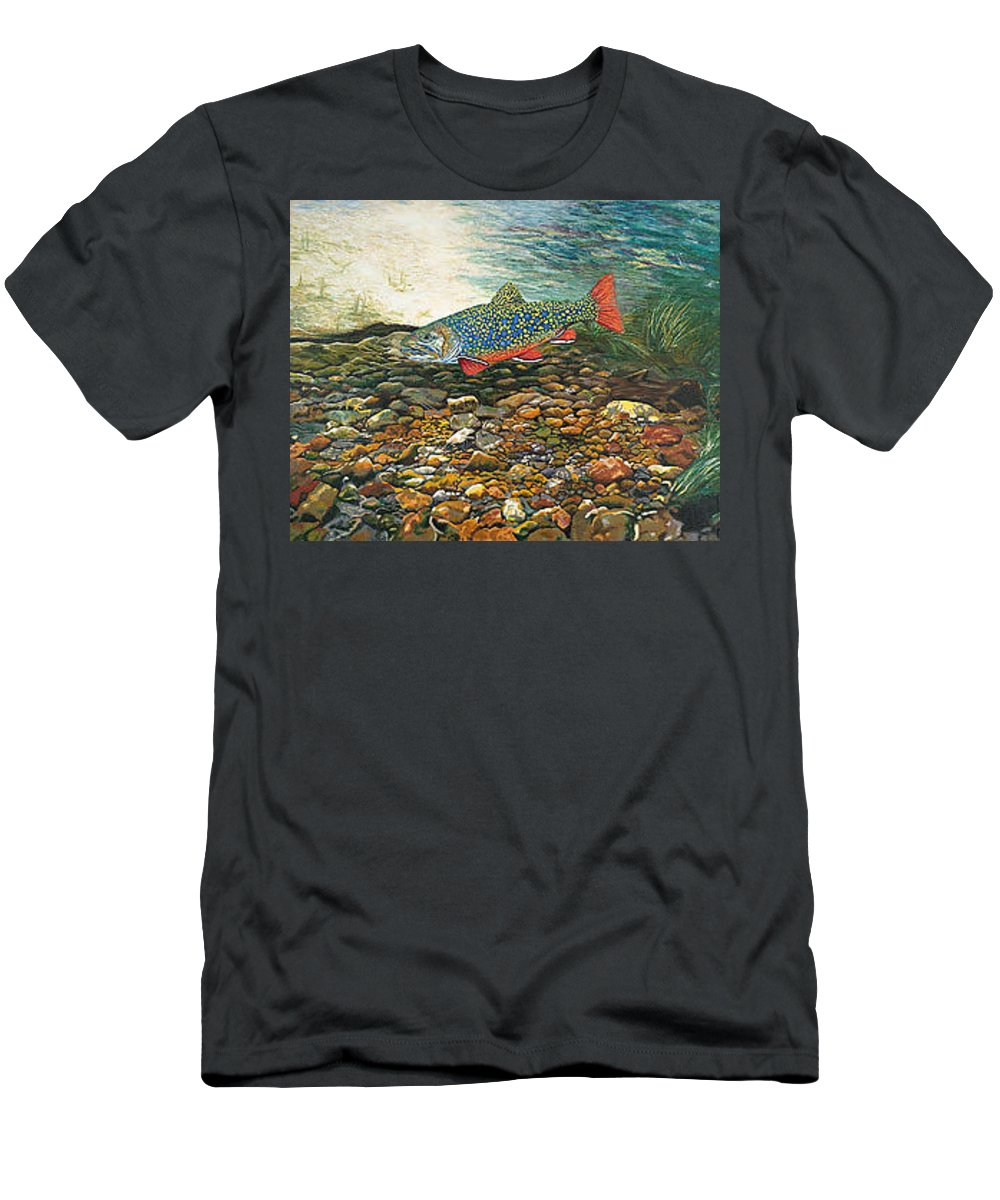 Art T-Shirt featuring the painting Trout Art Fish Art Brook Trout Suspended Artwork Giclee Fine Art Print by Patti Baslee
