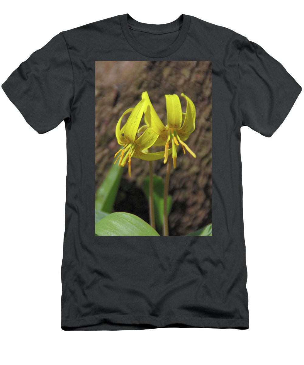 Flowers Men's T-Shirt (Athletic Fit) featuring the photograph Trout Lily 1068 by Guy Whiteley