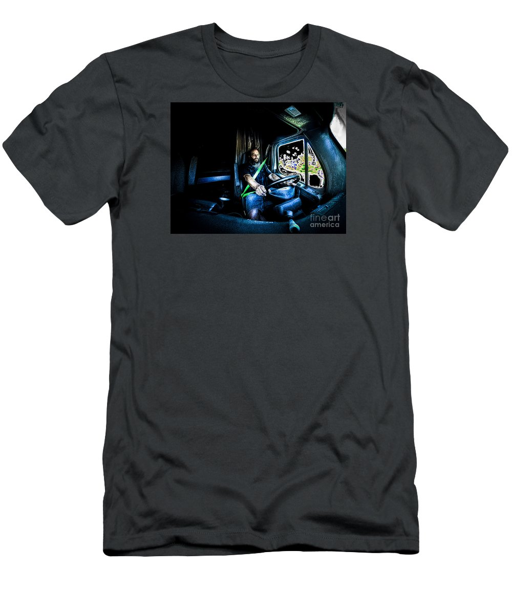 Art Men's T-Shirt (Athletic Fit) featuring the photograph Truck Driver by Scott Chimber
