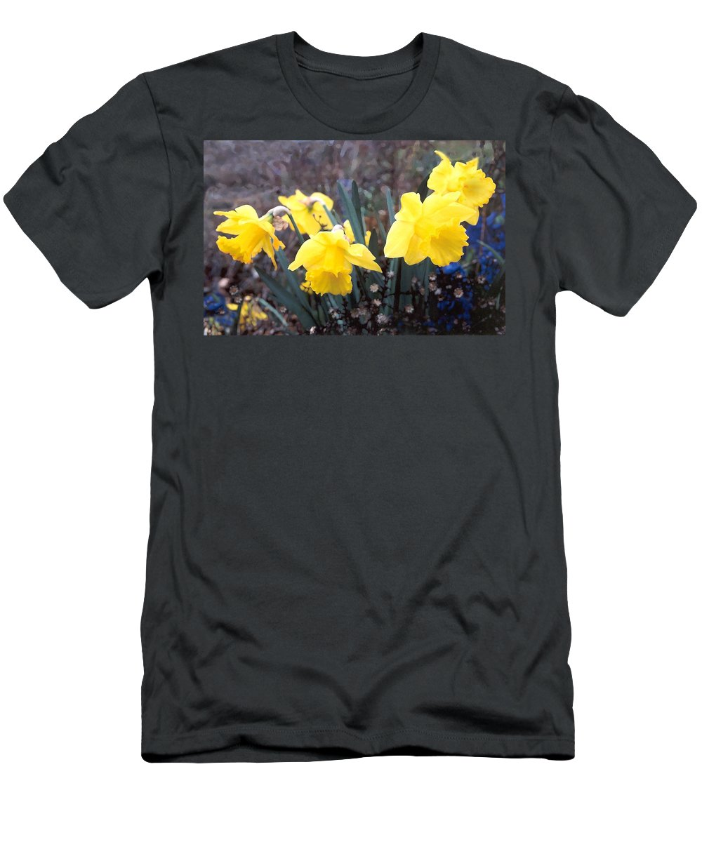 Flowes Men's T-Shirt (Athletic Fit) featuring the photograph Trumpets Of Spring by Steve Karol