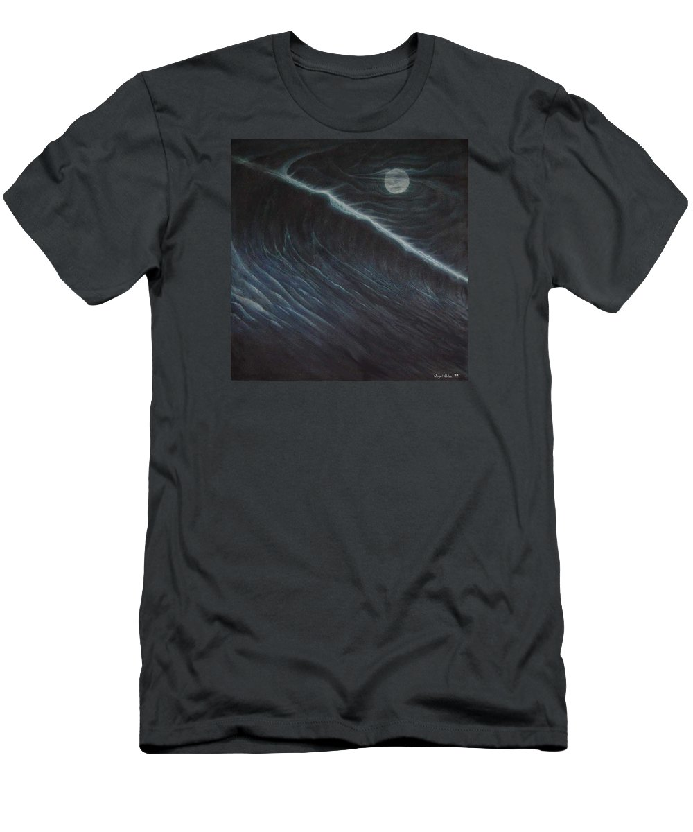 Seascapes Men's T-Shirt (Athletic Fit) featuring the painting Tsunami by Angel Ortiz