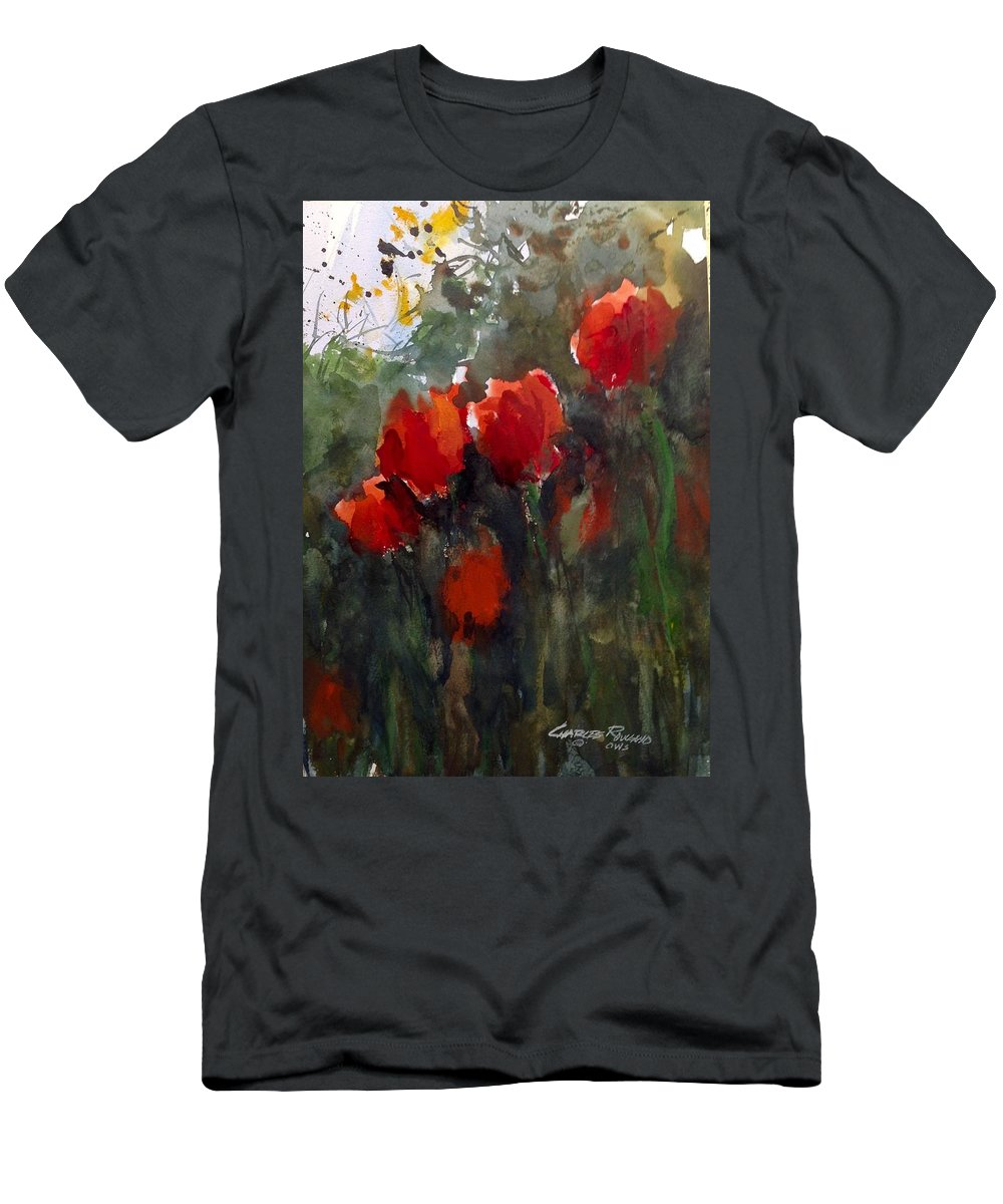 Tulips Men's T-Shirt (Athletic Fit) featuring the painting Tulips by Charles Rowland