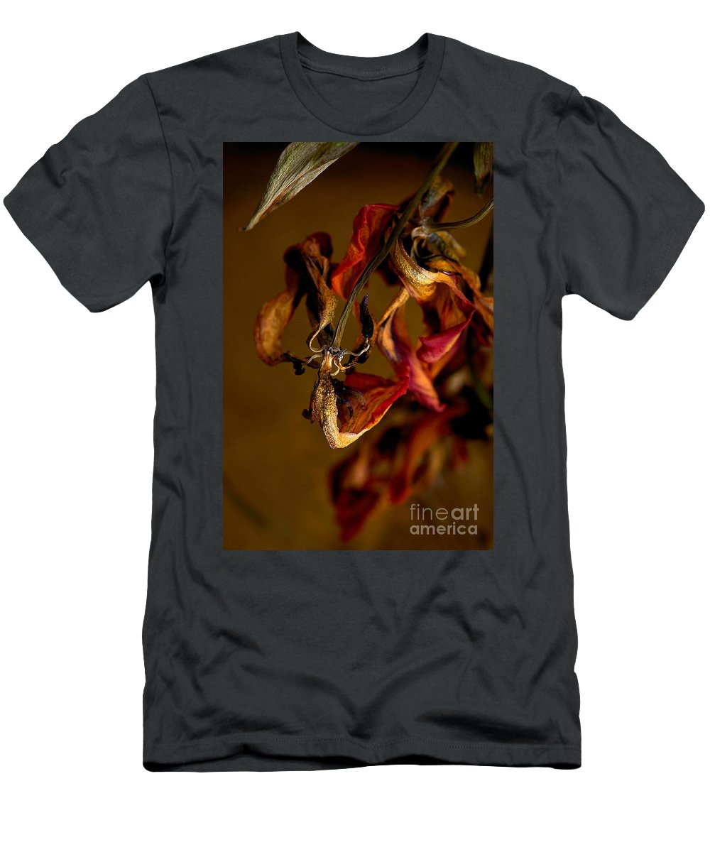 Red Tulip Men's T-Shirt (Athletic Fit) featuring the photograph Tulip's Demise - A Natural Abstract by Lois Bryan