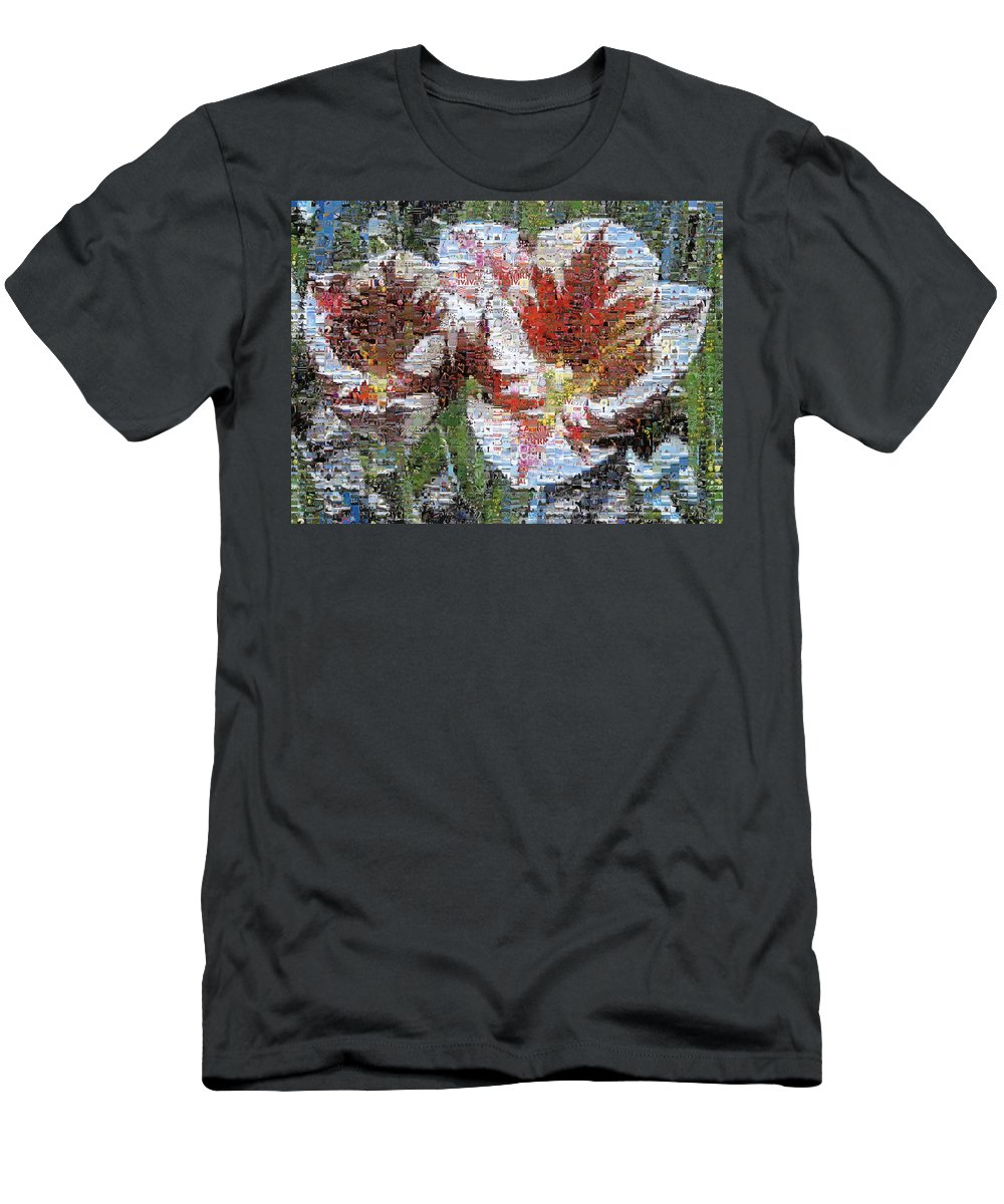Lighthouse Men's T-Shirt (Athletic Fit) featuring the photograph Tulips In Springtime Photomosaic by Michelle Calkins