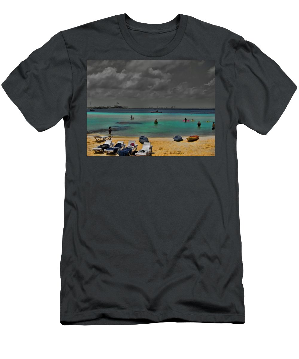 Cancun Mexico Men's T-Shirt (Athletic Fit) featuring the photograph Turquoise Paradise by Douglas Barnard