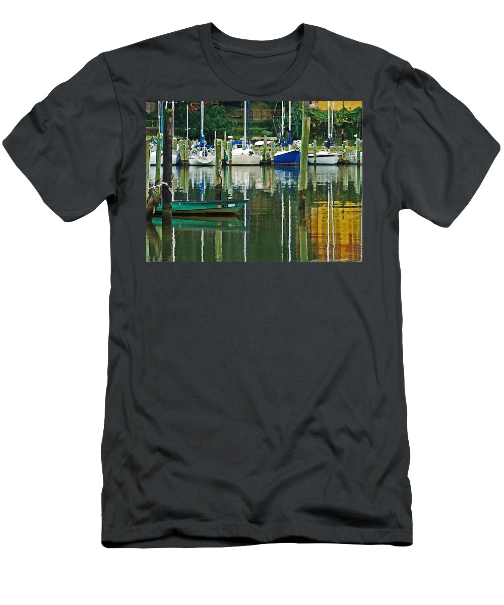 Fairhope Men's T-Shirt (Athletic Fit) featuring the digital art Turquoise Workboat In The Colorful Harbor by Michael Thomas