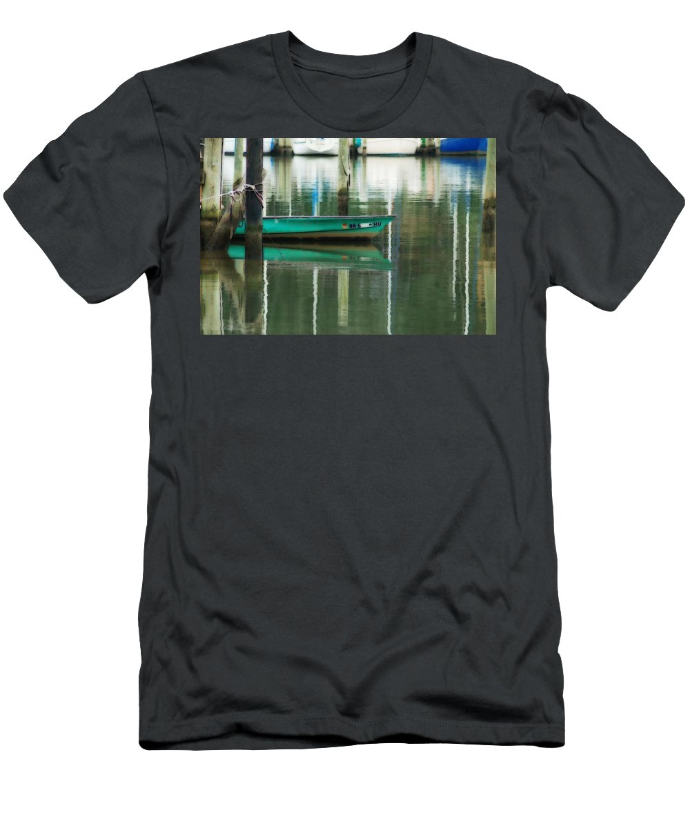 Fairhope Men's T-Shirt (Athletic Fit) featuring the digital art Turquoise Workboat On The Calm Harbor by Michael Thomas
