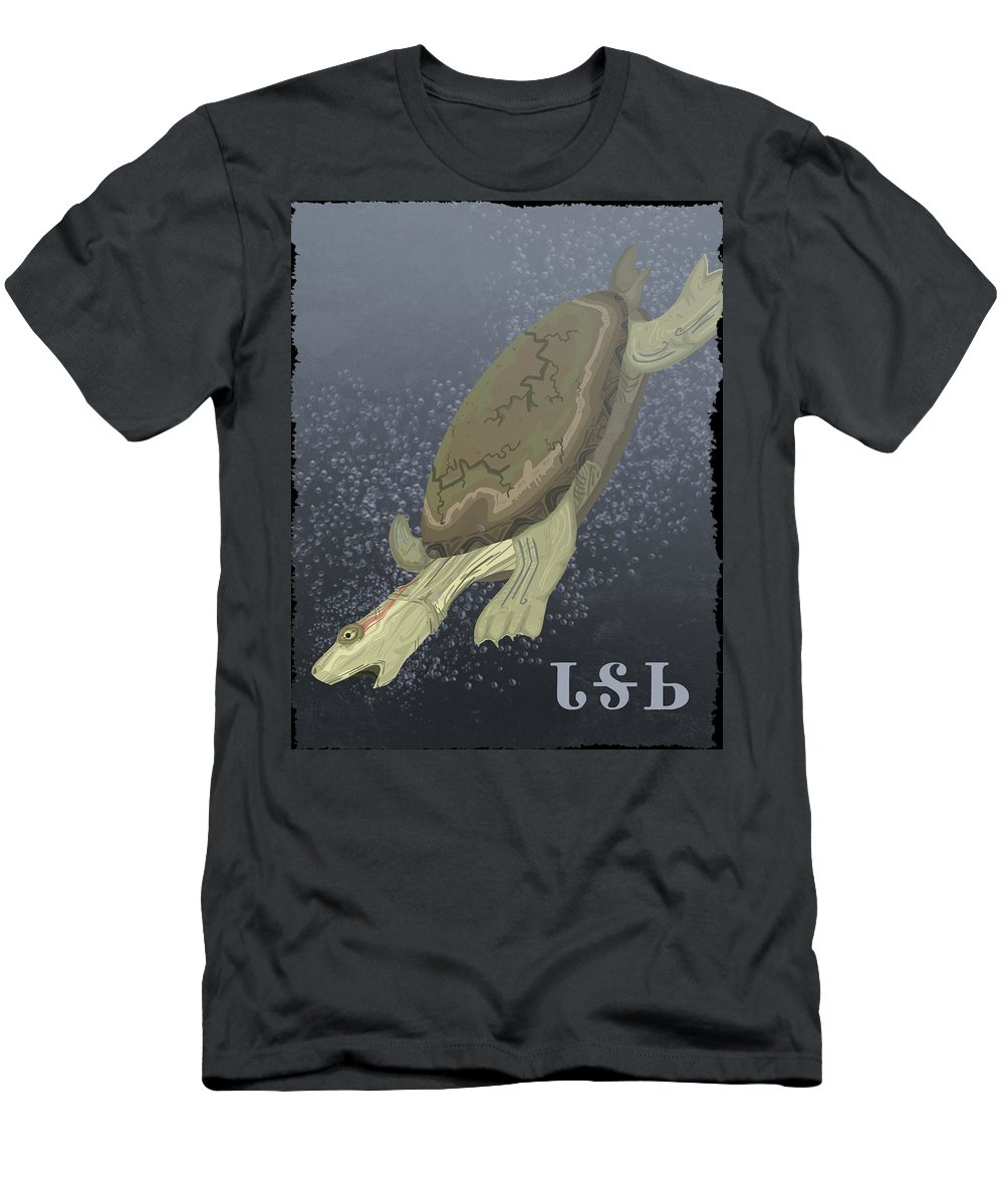 Turtle Men's T-Shirt (Athletic Fit) featuring the digital art Turtle Dives Too Deep by Alex Stephenson