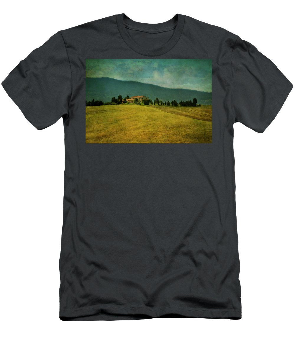 Tuscany Men's T-Shirt (Athletic Fit) featuring the photograph Tusacany Hills by Claudia Moeckel