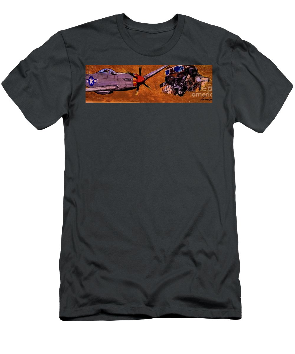 Black Pilots T-Shirt featuring the painting Tuskegee Airmen II by Leon Hollins III