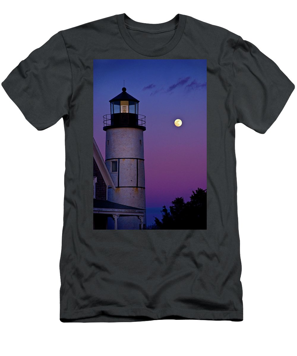 Twilight Men's T-Shirt (Athletic Fit) featuring the photograph Twilight Sandy Neck by Charles Harden