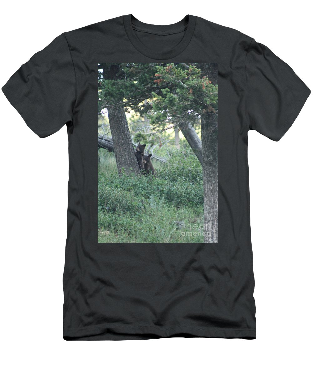 Two Men's T-Shirt (Athletic Fit) featuring the photograph Two Bear Cubs by Mary Mikawoz