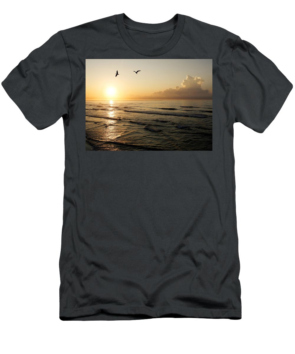Beach Men's T-Shirt (Athletic Fit) featuring the photograph Two Birds At Breakast by Marilyn Hunt